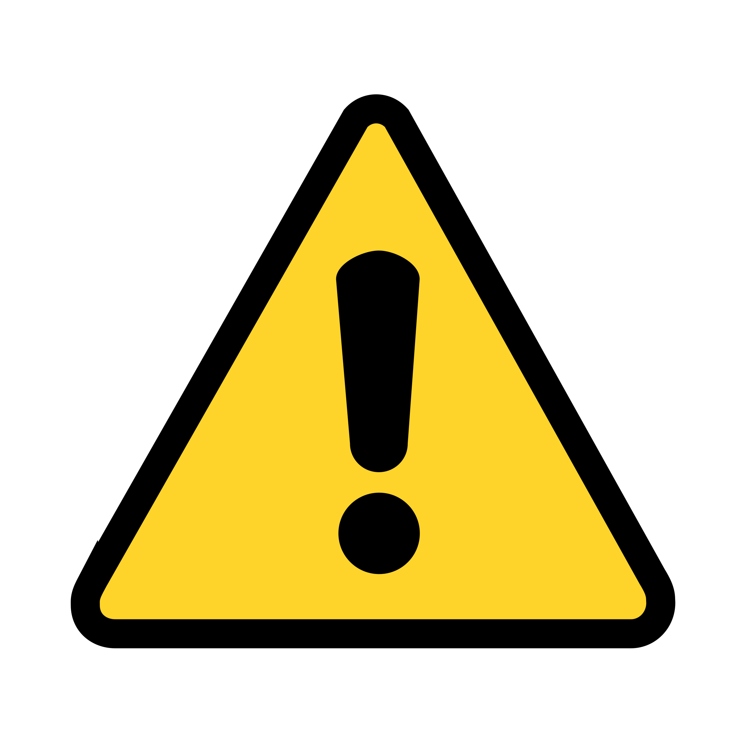 A safety warning icon - Yellow triangle with a black exclamation mark in the middle.