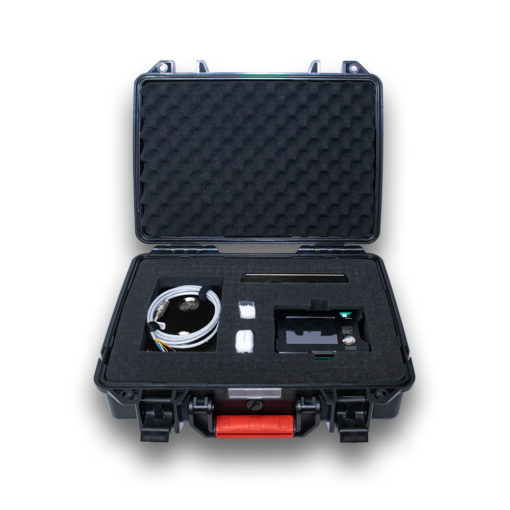 The MPI Touch Screen Multi-Output Precision Inclinometer Kit displayed showing all component the kit includes. The kit includes one MPI unit, two magnetic mounting brackets, a 9-pin interface cable, and a USB-C charging cable. The kit case is a rugged hard case with foam protection on the inside.