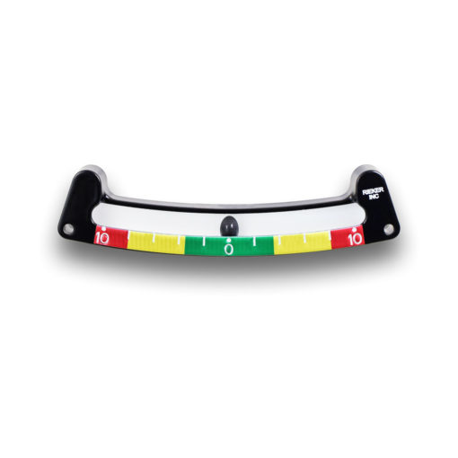 The 1017SPL3-3.5/8/10 mechanical inclinometer is a ±10 degree unit with 2 degree increments. Green color warning zone set at 3.5 degrees, yellow from 3 degrees to 8 degrees, and red from 8 degrees to 10 degrees.