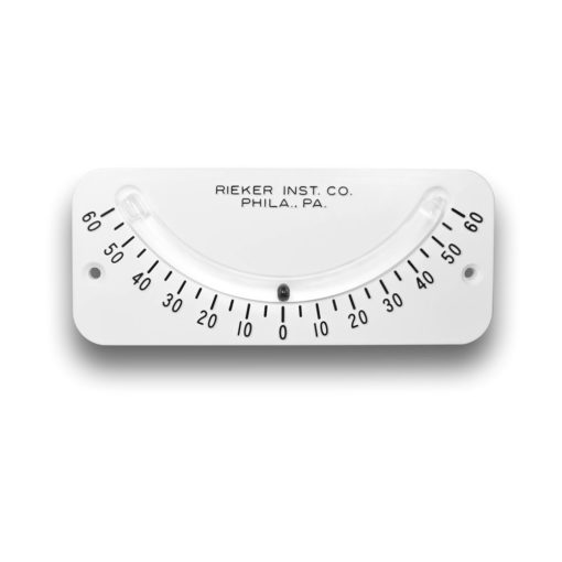 The 2055 Mechanical Inclinometer is a ±60 degrees unit with 5 degree increments. White background with black markings and a black ball.