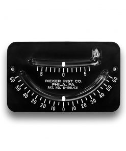 The 2056E Mechanical Inclinometer is a dual scale inclinometer. The top scale is ±6 degrees with 1 degree increments. The bottom scale is ±60 degrees with 5 degree increments. Black background with white markings and a white ball.