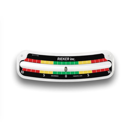 The 2110-D Customized Mechanical Inclinometer. ±10 degrees with 1 degree increments. Black background with white markings. Green color zone between the 3 degree marks. Yellow color zone from the 3 degree mark to the 6 degree mark. Red color zone from the 6 degree mark to the 10 degree mark.