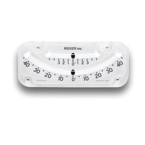 The 2145-05-B Mechanical Inclinometer is a dual scale inclinometer. The top scale is ±5 degrees with 1 degree increments. The bottom scale is ±45 degrees with 5 degree increments. White background with black markings.