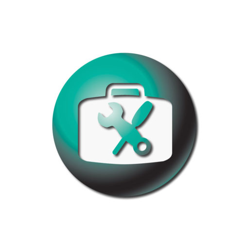 Rieker Inc Flex icon. Green ball with a wrench and screwdriver crossing in the middle.