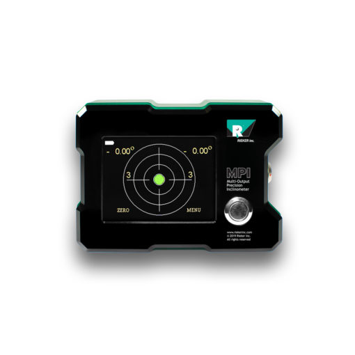 The MPI Touch Screen Multi-Output Precision Inclinometer displayed from the front with the screen turned on. The screen displays the MPI functionality as a highly accurate precision digital bulls-eye bubble level.