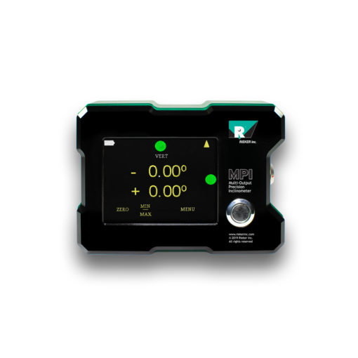 The MPI Touch Screen Multi-Output Precision Inclinometer displayed from the front with the unit turned on. The display shows the dual-axis readout alongside the colored LED level indicators.