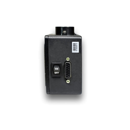 A side profile of our RDS8-BB-09 inclinometer unit, showcasing the connector and on/off switch.